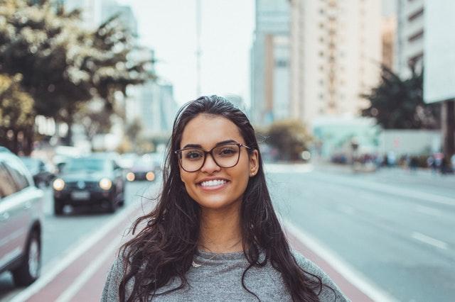 happy female customer smiling